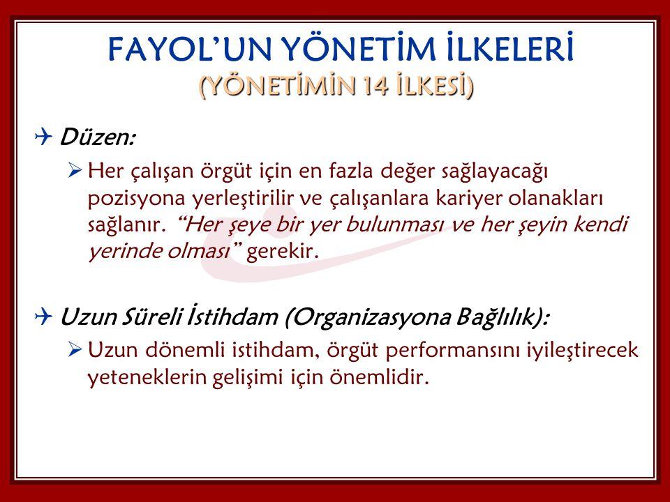 FAYOL'UN YÖNETİM İLKELERİ (YÖNETİMİN 14 İLKESİ)