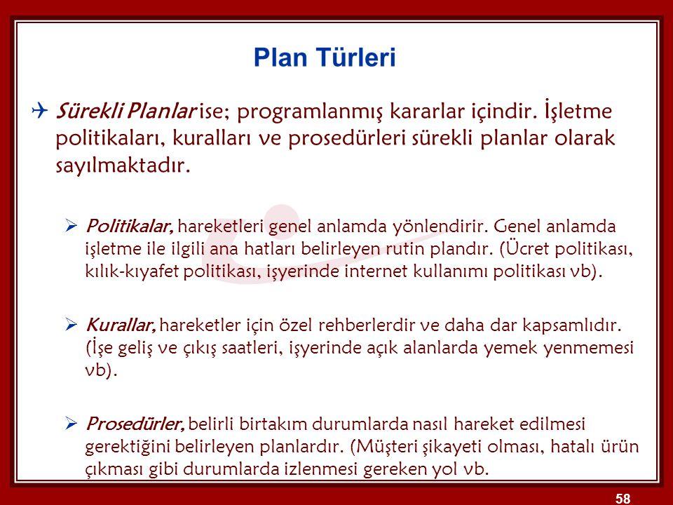 Sürekli Planlar ise; programlanmış kararlar içindir