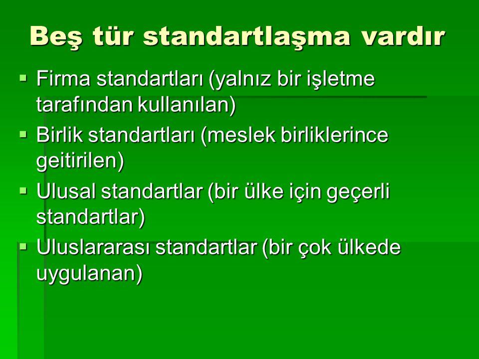 Beş tür standartlaşma vardır