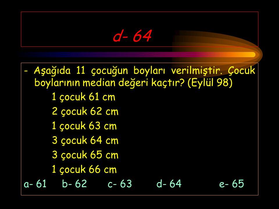 d- 64 - Aşağıda 11 çocuğun boyları verilmiştir. Çocuk boylarının median değeri kaçtır (Eylül 98) 1 çocuk 61 cm.