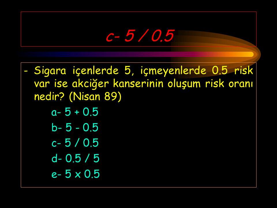 c- 5 / 0.5 - Sigara içenlerde 5, içmeyenlerde 0.5 risk var ise akciğer kanserinin oluşum risk oranı nedir (Nisan 89)