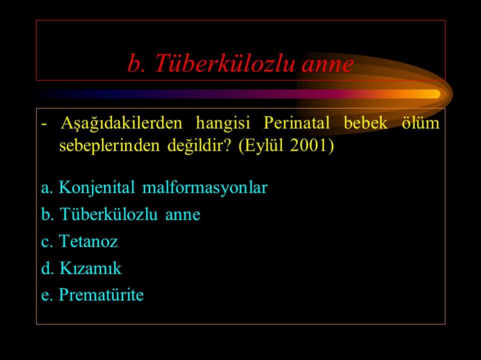 b. Tüberkülozlu anne - Aşağıdakilerden hangisi Perinatal bebek ölüm sebeplerinden değildir (Eylül 2001)