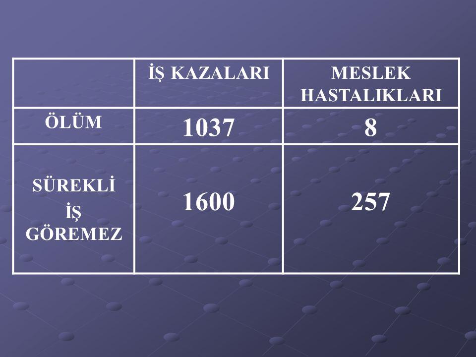 1037 8 1600 257 İŞ KAZALARI MESLEK HASTALIKLARI ÖLÜM SÜREKLİ