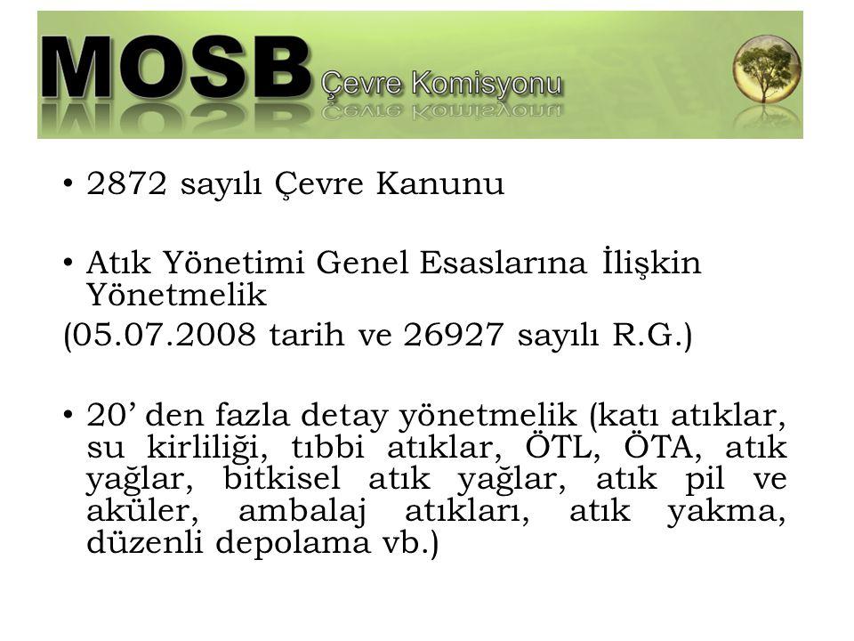 2872 sayılı Çevre Kanunu Atık Yönetimi Genel Esaslarına İlişkin Yönetmelik. (05.07.2008 tarih ve 26927 sayılı R.G.)