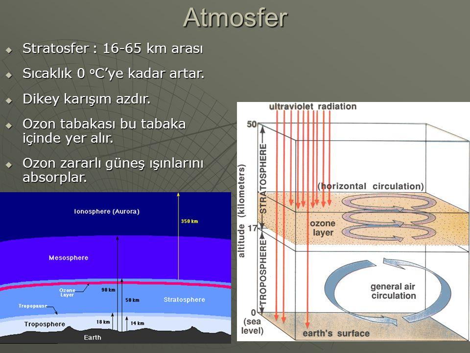 Atmosfer Stratosfer : 16-65 km arası Sıcaklık 0 oC'ye kadar artar.