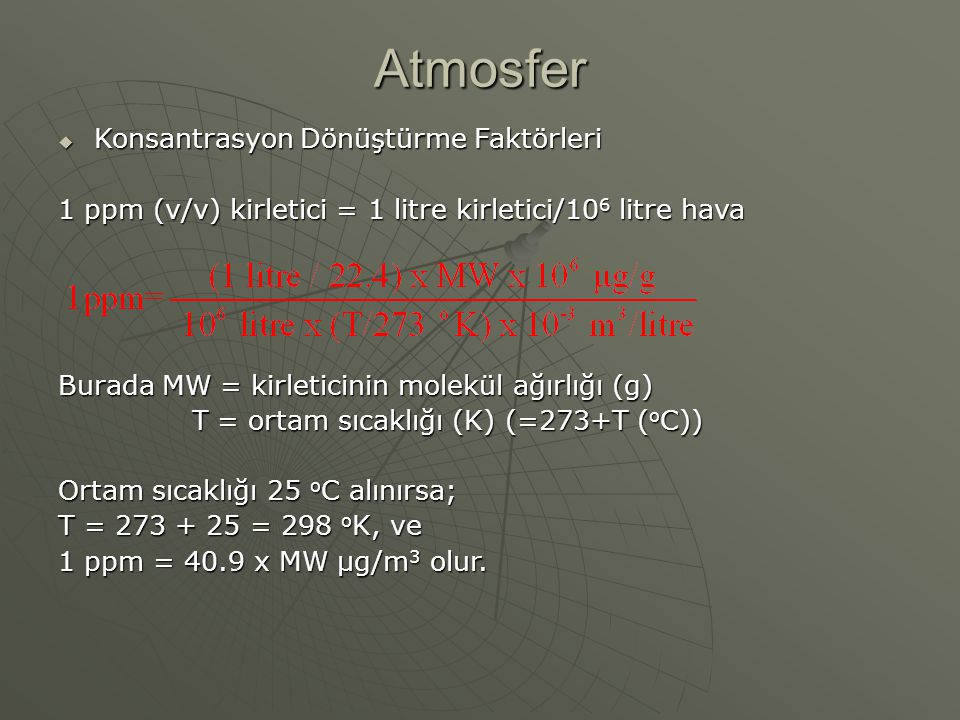Atmosfer Konsantrasyon Dönüştürme Faktörleri