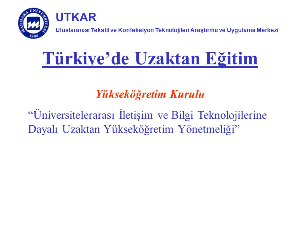 Türkiye'de Uzaktan Eğitim