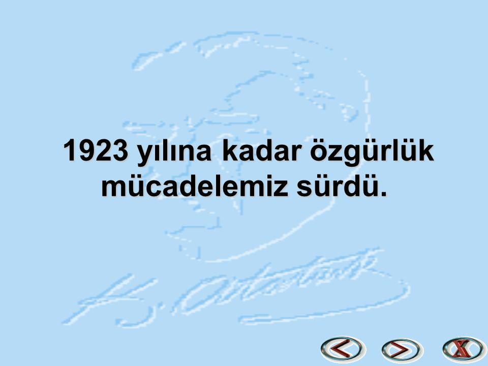 1923 yılına kadar özgürlük mücadelemiz sürdü.