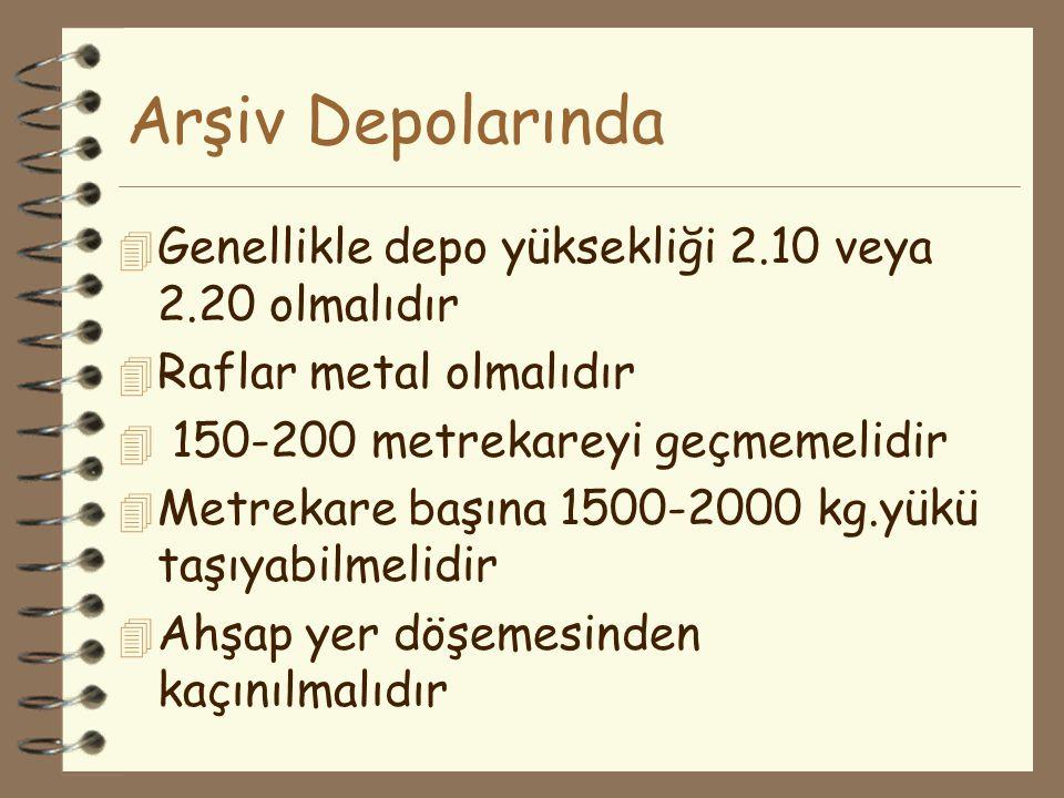 Arşiv Depolarında Genellikle depo yüksekliği 2.10 veya 2.20 olmalıdır