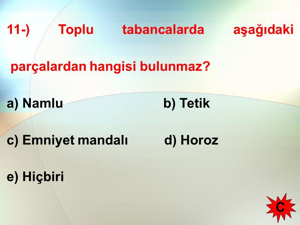 11-) Toplu tabancalarda aşağıdaki parçalardan hangisi bulunmaz