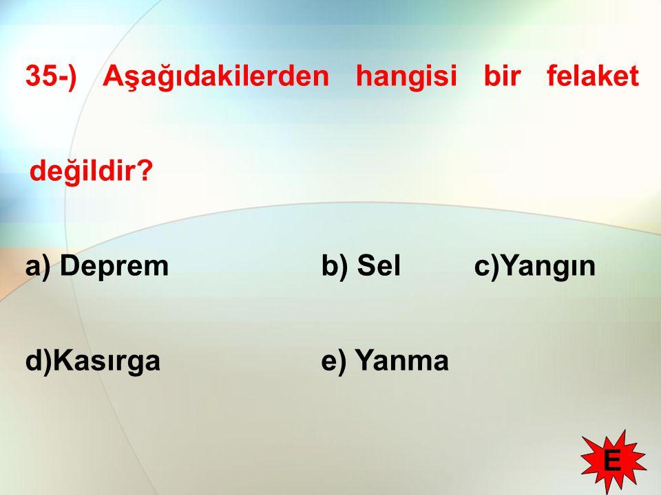 35-) Aşağıdakilerden hangisi bir felaket değildir