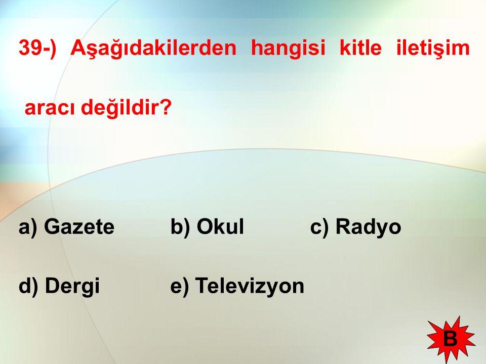 39-) Aşağıdakilerden hangisi kitle iletişim aracı değildir