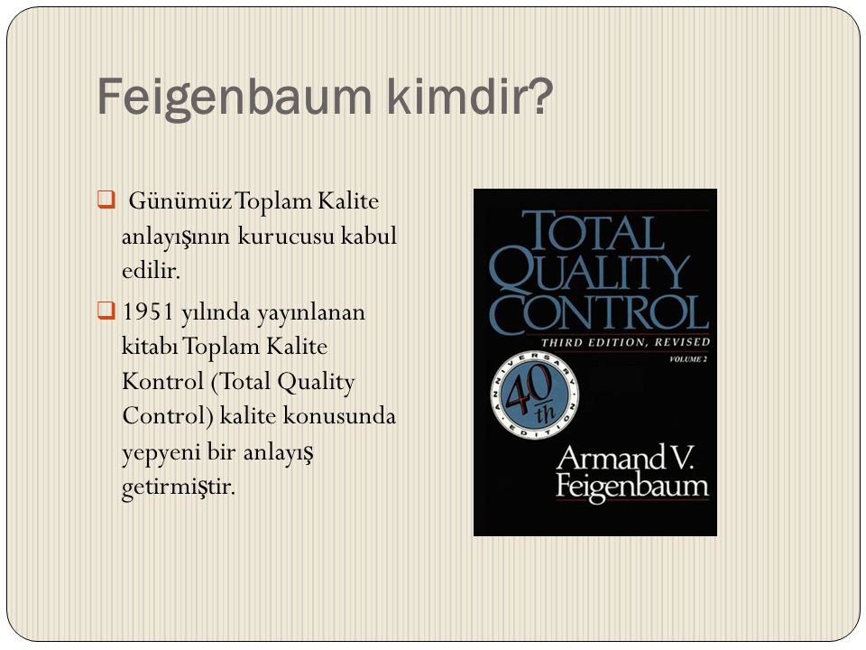 Feigenbaum kimdir Günümüz Toplam Kalite anlayışının kurucusu kabul edilir.