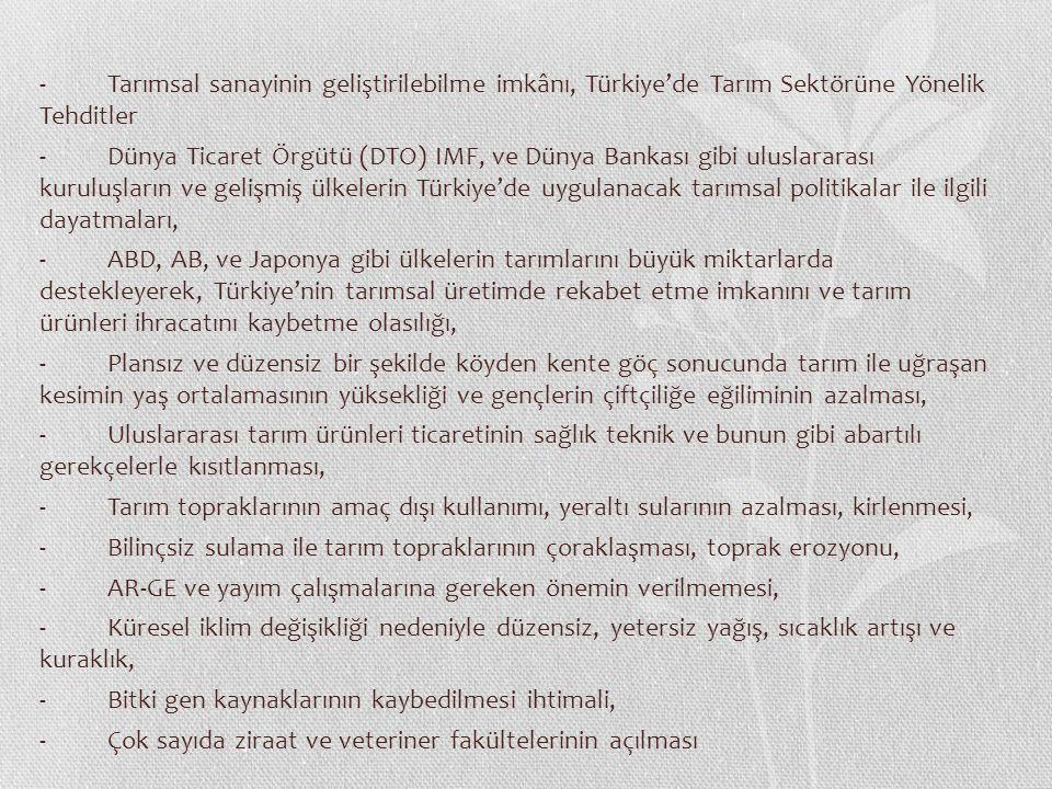 - Tarımsal sanayinin geliştirilebilme imkânı, Türkiye'de Tarım Sektörüne Yönelik Tehditler