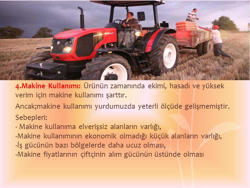 4.Makine Kullanımı: Ürünün zamanında ekimi, hasadı ve yüksek verim için makine kullanımı şarttır.