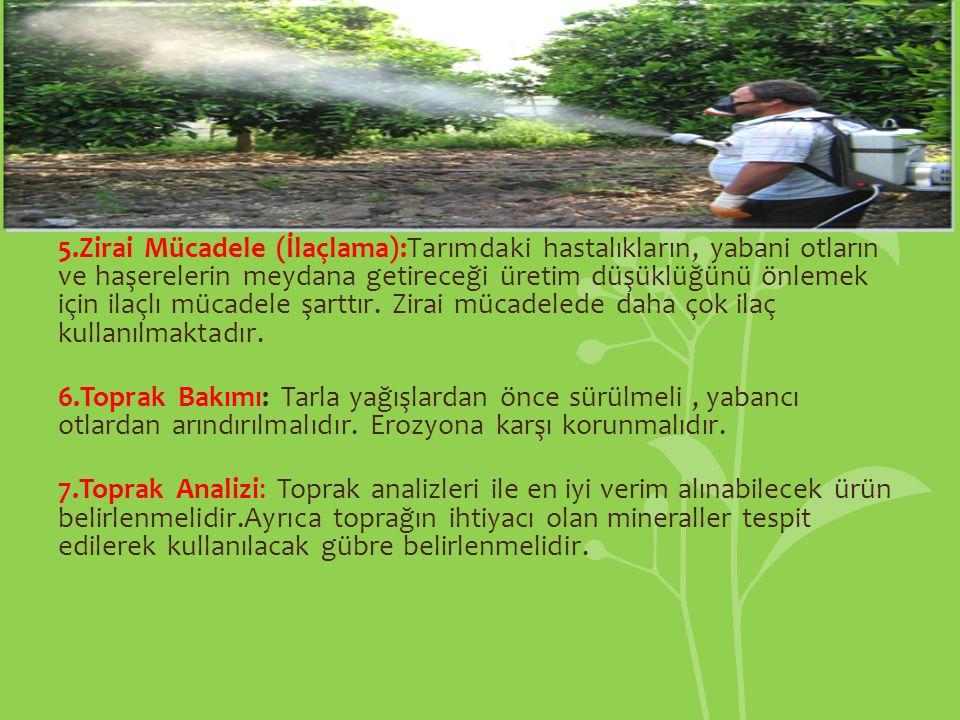 5.Zirai Mücadele (İlaçlama):Tarımdaki hastalıkların, yabani otların ve haşerelerin meydana getireceği üretim düşüklüğünü önlemek için ilaçlı mücadele şarttır.