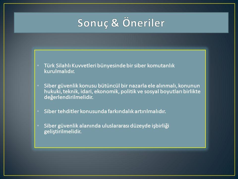 Sonuç & Öneriler Türk Silahlı Kuvvetleri bünyesinde bir siber komutanlık kurulmalıdır.