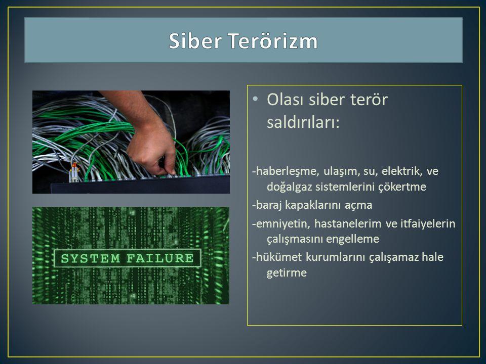 Siber Terörizm Olası siber terör saldırıları: