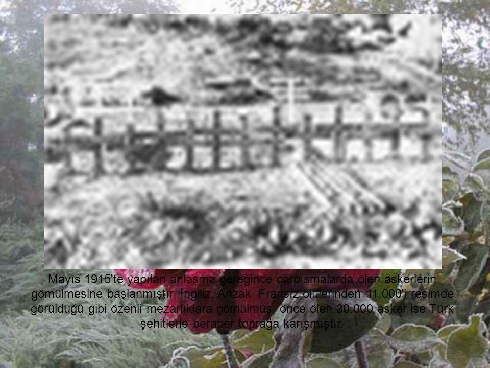 Mayıs 1915 te yapılan anlaşma gereğince çarpışmalarda ölen askerlerin gömülmesine başlanmıştır.