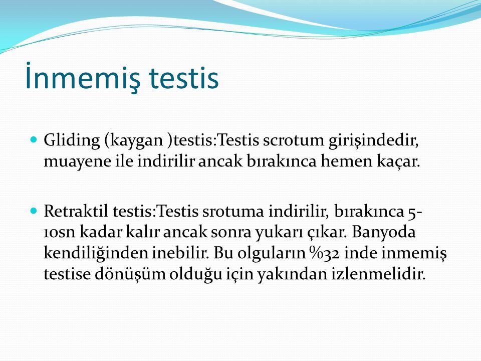İnmemiş testis Gliding (kaygan )testis:Testis scrotum girişindedir, muayene ile indirilir ancak bırakınca hemen kaçar.