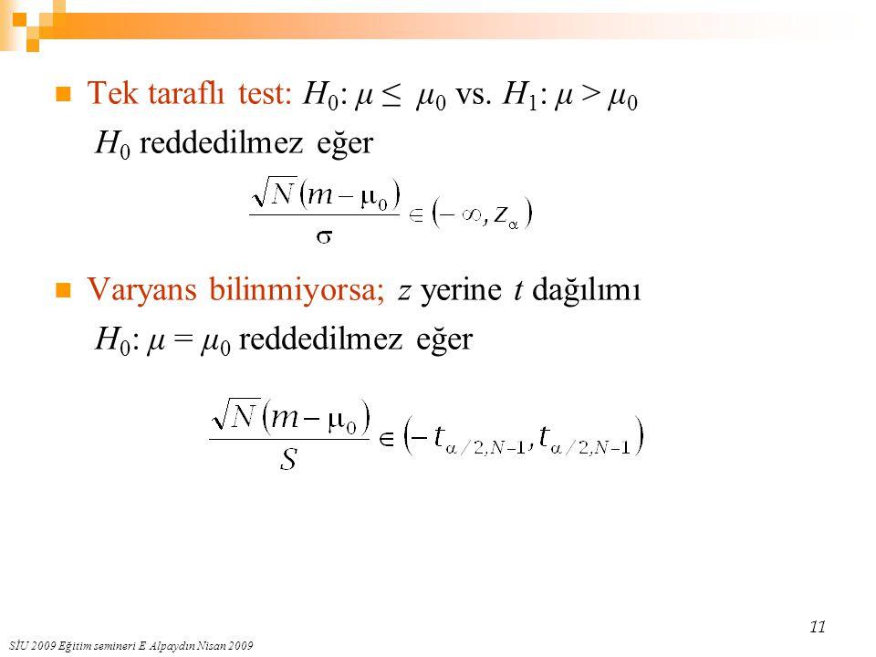 Tek taraflı test: H0: μ ≤ μ0 vs. H1: μ > μ0 H0 reddedilmez eğer