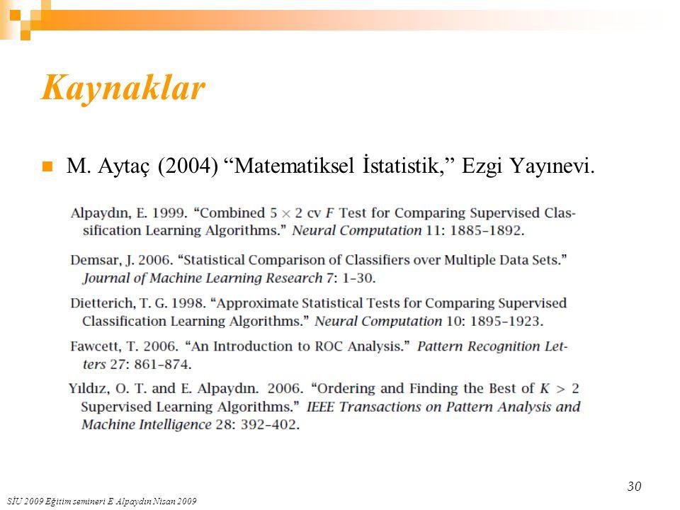 Kaynaklar M. Aytaç (2004) Matematiksel İstatistik, Ezgi Yayınevi.