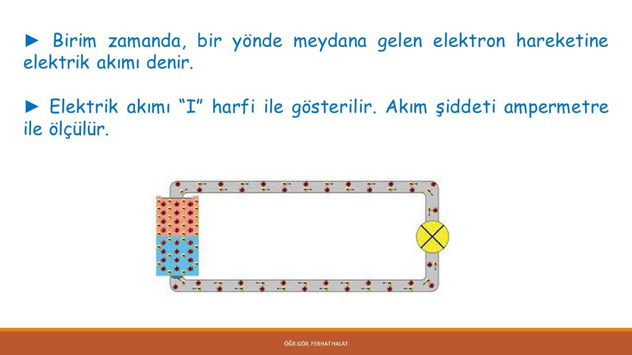 ► Birim zamanda, bir yönde meydana gelen elektron hareketine elektrik akımı denir.