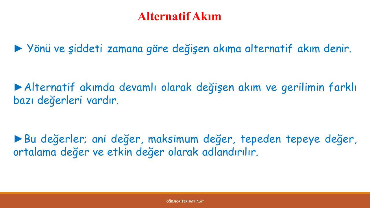 Alternatif Akım ► Yönü ve şiddeti zamana göre değişen akıma alternatif akım denir.