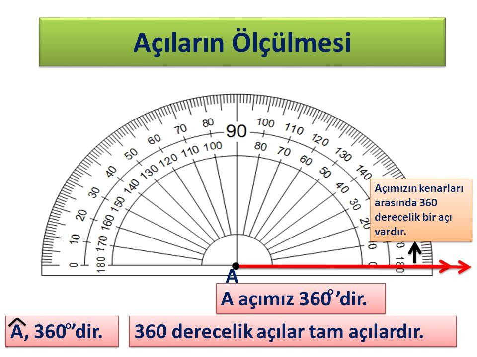 Açıların Ölçülmesi A A açımız 360 'dir. A, 360 'dir.