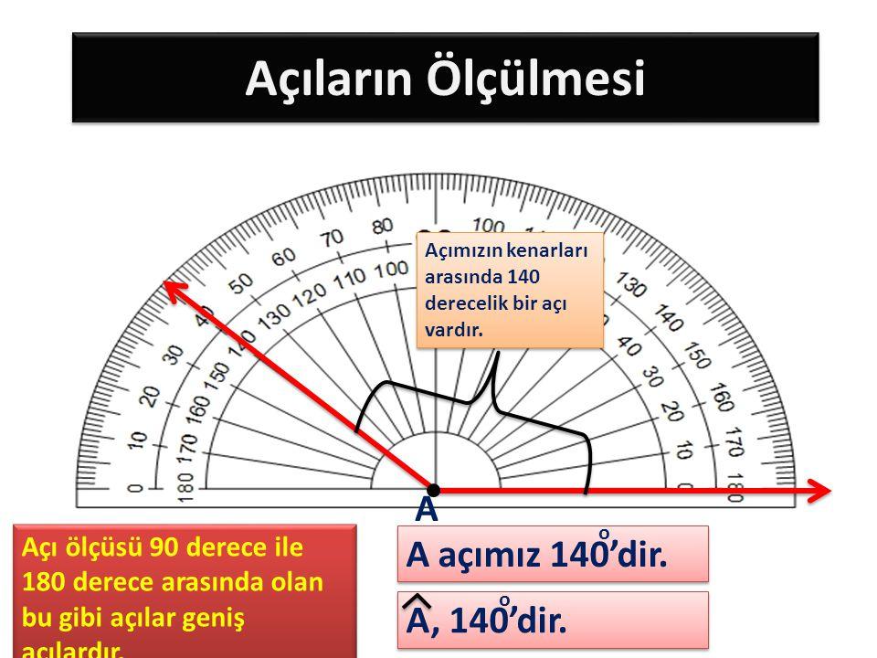Açıların Ölçülmesi A A açımız 140'dir. A, 140'dir.