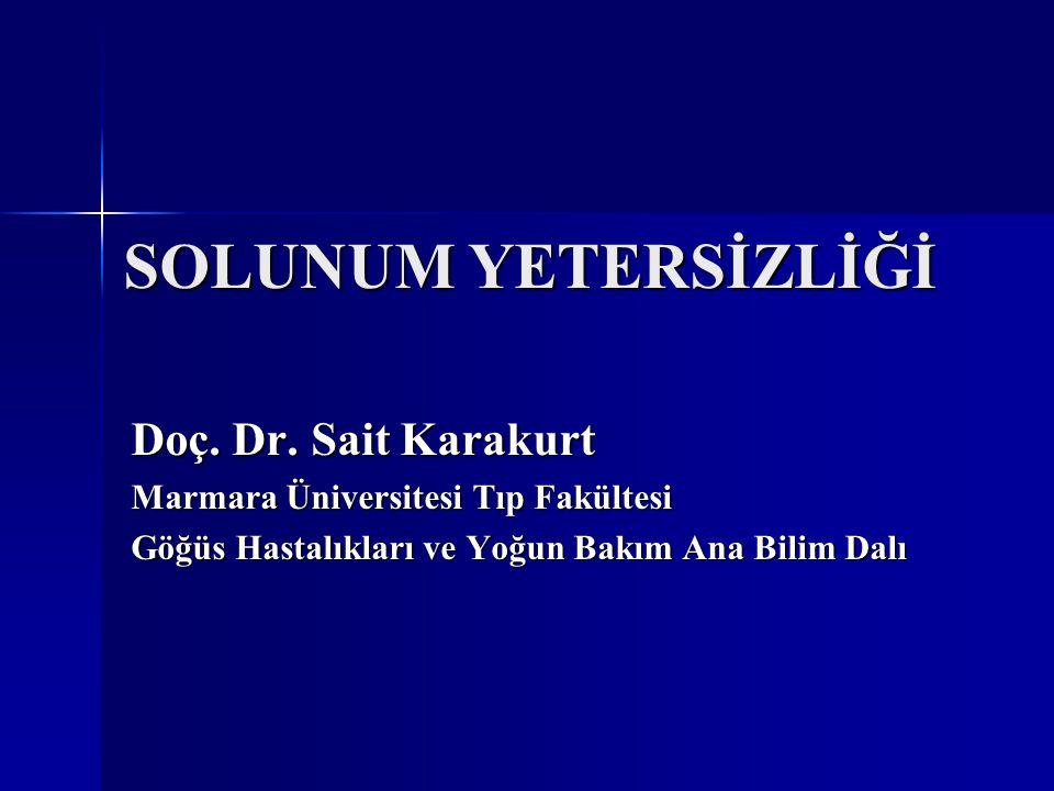 SOLUNUM YETERSİZLİĞİ Doç. Dr. Sait Karakurt