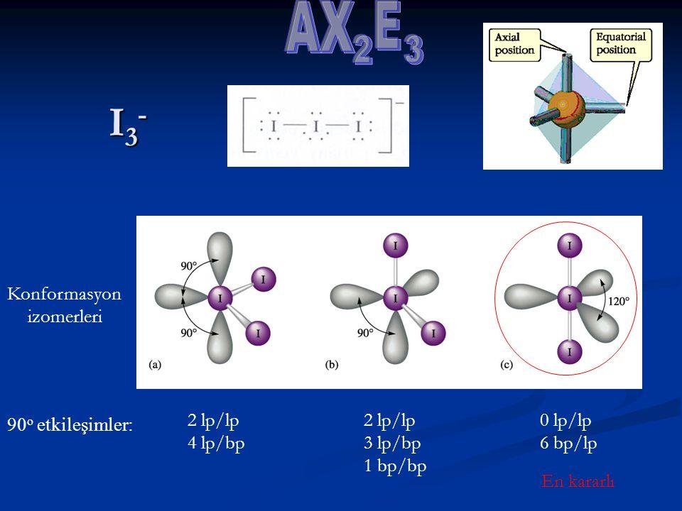 I3- E 2 3 AX Konformasyon izomerleri 90o etkileşimler: 2 lp/lp 4 lp/bp