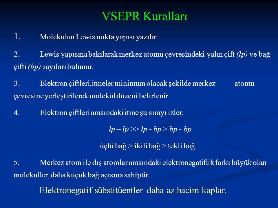VSEPR Kuralları 1. Molekülün Lewis nokta yapısı yazılır.