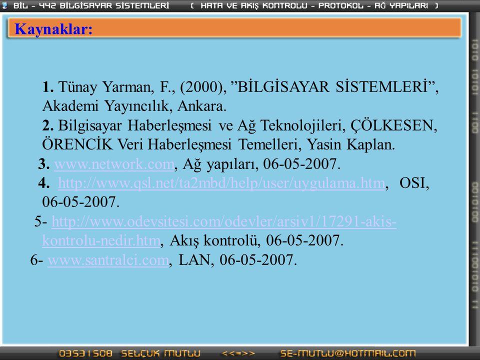 Kaynaklar: 1. Tünay Yarman, F., (2000), BİLGİSAYAR SİSTEMLERİ , Akademi Yayıncılık, Ankara.