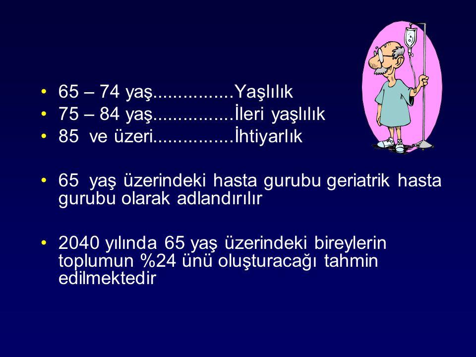 65 – 74 yaş................Yaşlılık 75 – 84 yaş................İleri yaşlılık. 85 ve üzeri................İhtiyarlık.