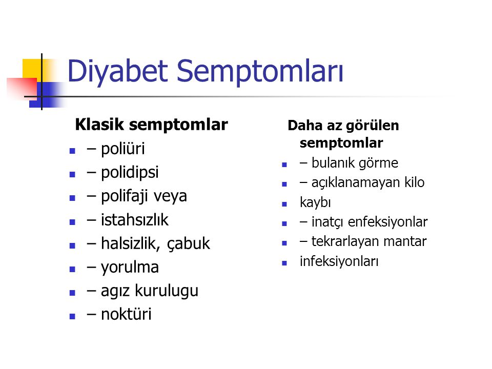 Diyabet Semptomları Klasik semptomlar Daha az görülen semptomlar