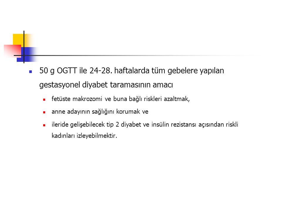 50 g OGTT ile 24-28. haftalarda tüm gebelere yapılan gestasyonel diyabet taramasının amacı