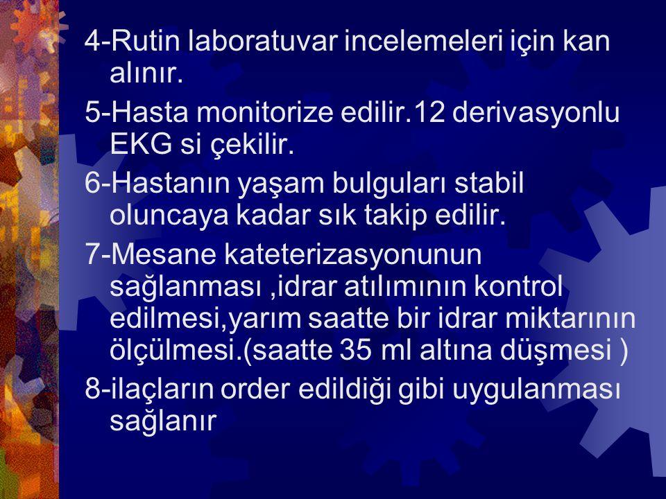 4-Rutin laboratuvar incelemeleri için kan alınır.