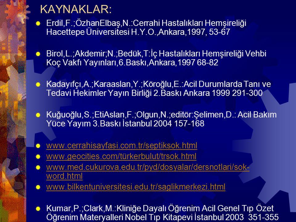 KAYNAKLAR: Erdil,F.;ÖzhanElbaş,N.:Cerrahi Hastalıkları Hemşireliği Hacettepe Üniversitesi H.Y.O.,Ankara,1997, 53-67.