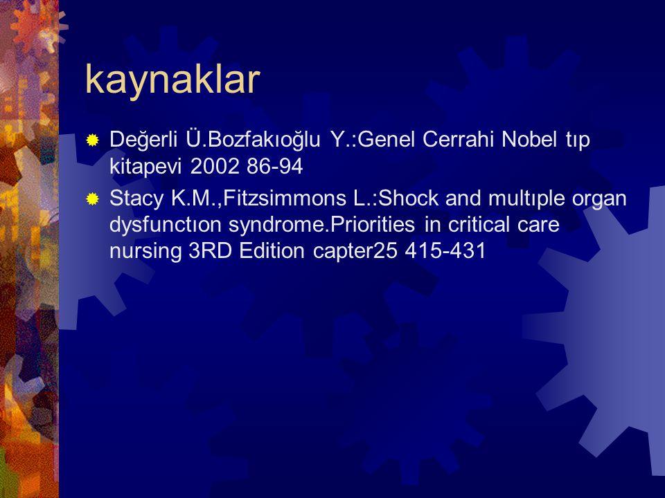 kaynaklar Değerli Ü.Bozfakıoğlu Y.:Genel Cerrahi Nobel tıp kitapevi 2002 86-94.