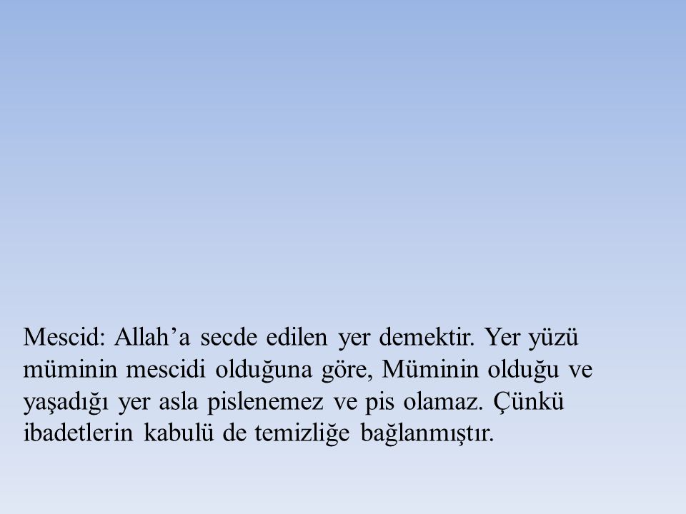 Mescid: Allah'a secde edilen yer demektir