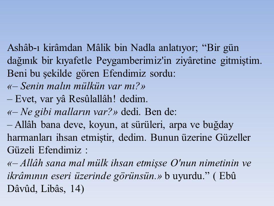 Ashâb-ı kirâmdan Mâlik bin Nadla anlatıyor; Bir gün dağınık bir kıyafetle Peygamberimiz in ziyâretine gitmiştim.