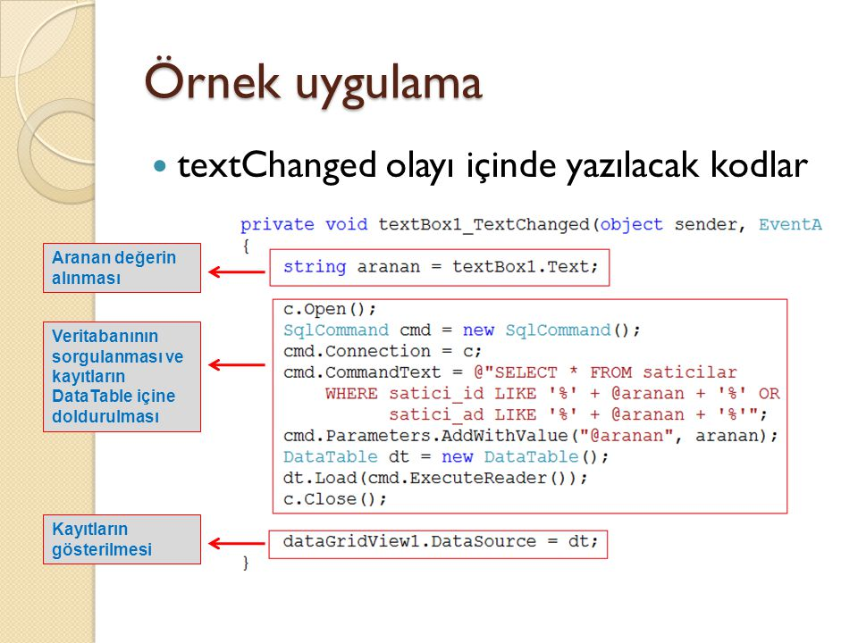 Örnek uygulama textChanged olayı içinde yazılacak kodlar
