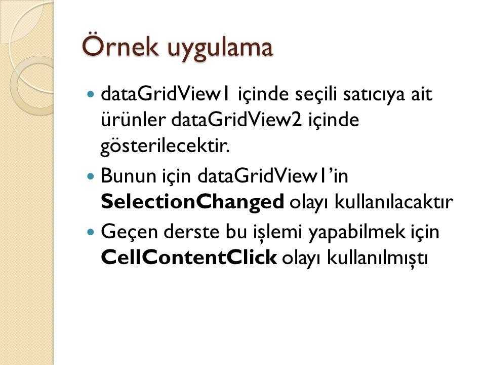 Örnek uygulama dataGridView1 içinde seçili satıcıya ait ürünler dataGridView2 içinde gösterilecektir.