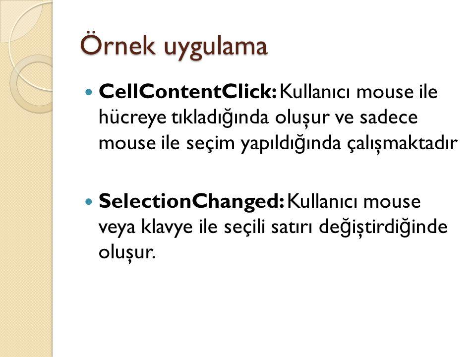 Örnek uygulama CellContentClick: Kullanıcı mouse ile hücreye tıkladığında oluşur ve sadece mouse ile seçim yapıldığında çalışmaktadır.