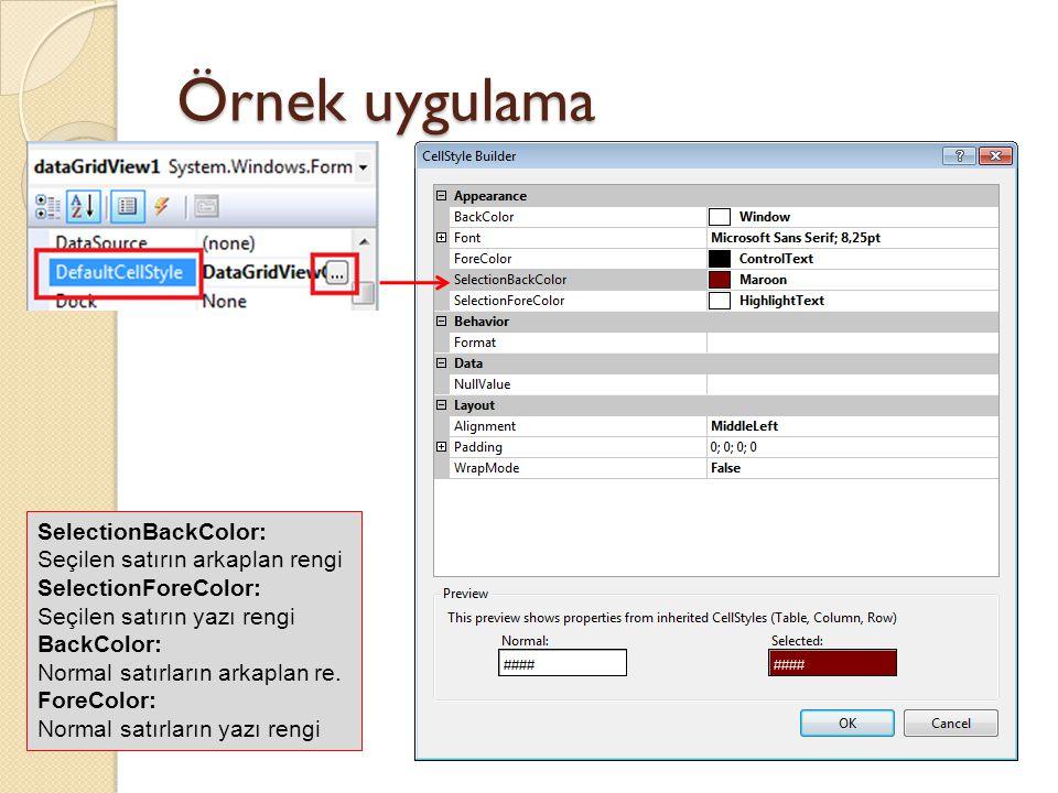 Örnek uygulama SelectionBackColor: Seçilen satırın arkaplan rengi