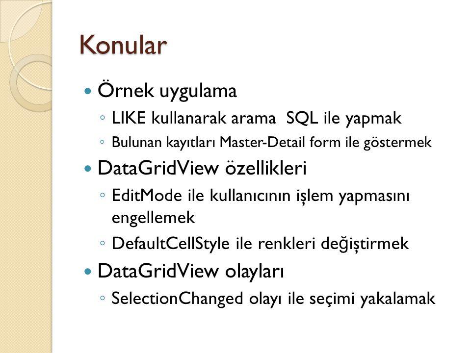 Konular Örnek uygulama DataGridView özellikleri DataGridView olayları