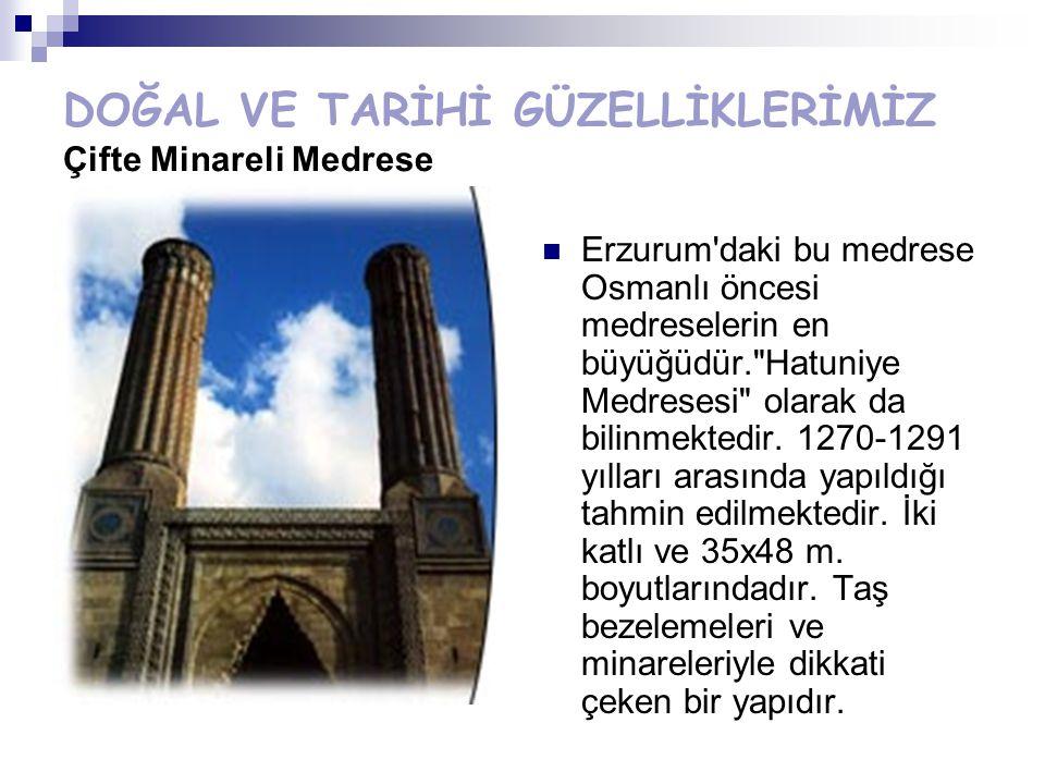 DOĞAL VE TARİHİ GÜZELLİKLERİMİZ Çifte Minareli Medrese