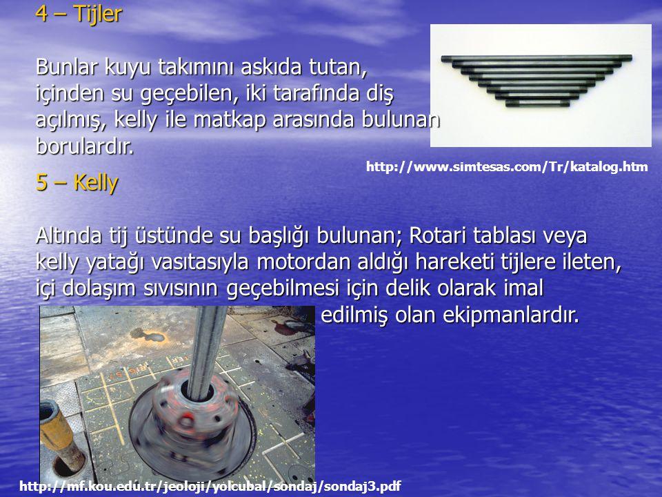 4 – Tijler Bunlar kuyu takımını askıda tutan, içinden su geçebilen, iki tarafında diş açılmış, kelly ile matkap arasında bulunan borulardır.