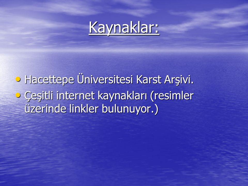 Kaynaklar: Hacettepe Üniversitesi Karst Arşivi.